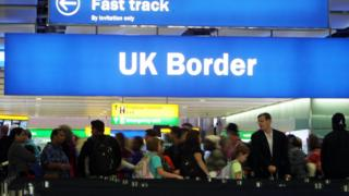 The UK border sign and queues at Heathrow Airport
