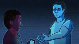 Ilustração do pai pedindo para o filho devolver o telefone