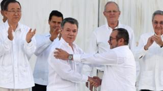 O presidente da Colômbia, Juan Manuel Santos, durante cerimônia de assinatura do acordo de paz, em Cartagena