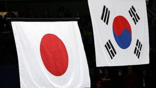 Флаги Кореи и Японии