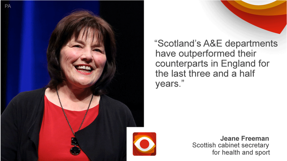 Jeane Freeman saying: Scotland's A&E departments have outperformed their counterparts in England for the last three and a half years.