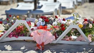 Flowers left on the beach in Tunisia