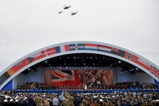 Helicopters fly over the stage as Sheridan Smith sang