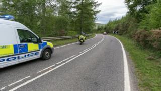 A835 crash scene