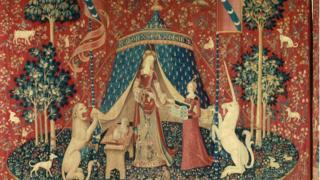 Um item da série de tapeçaria 'A dama e o unicórnio'