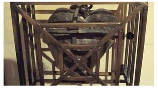 The iron container holding the preserved heart of St Laurence O'Toole