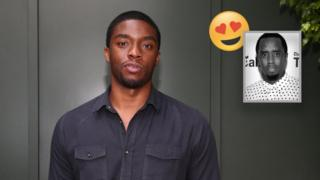 Chadwick Boseman poses against a grey-green backdrop, inset picture shows Sean Combs with a heart-eyes emoji.