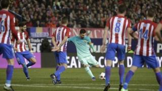 Lionel Messi a lokacin da ya ci kwallonsa ta 30 a bana