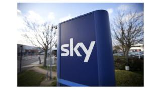 Close up of Sky logo on sign outside the London HQ