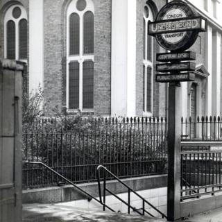 Stairwell entrance to Bethnal Green station, 1953