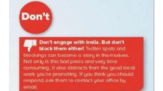 """Graphic saying """"don't engage with trolls. But don't block them either!"""""""