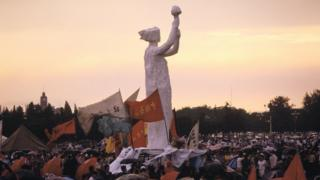 End of the demonstration at Tianamen Square in Beijing, China on June 01st, 1989.