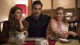 Sharon Horgan, Rob Delaney and Carrie Fisher