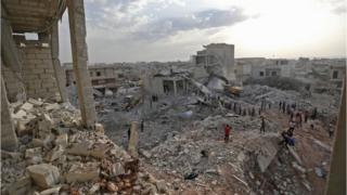 İdlib'de yıkılan binalar