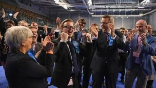 Conservative candidate for Shettelston Thomas Kerr celebrates winning a Glasgow Council