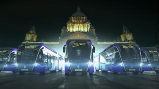 Glider busses outside City Hall in Belfast