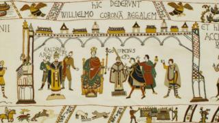 Alderney Tapestry showing the crowning of William, Duke of Normandy, as King of England
