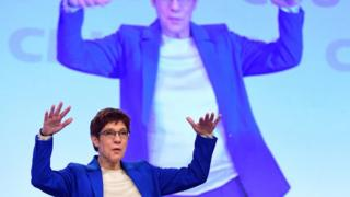 Annegret Kramp-Karrenbauer reacts to applause after her speech during the congress of the Christian Democratic Union (CDU) in Leipzig