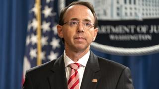 Deputy Attorney General Rod Rosenstein at the Department of Justice on 13 July 2018