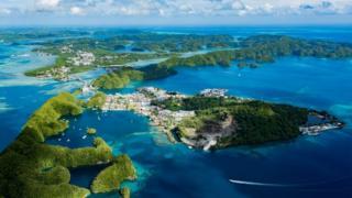 An aerial view of Palau