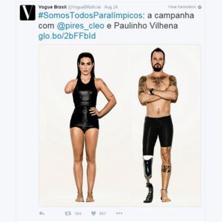 Imagen de dos modelos con aparentes discapacidades