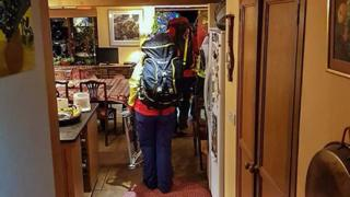 Mountain rescuers in house
