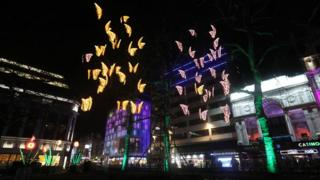 Lights displayed outside Leicester Square