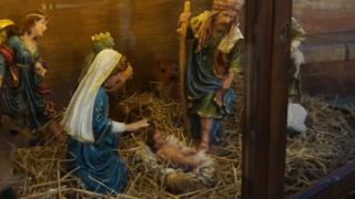 Nativity scene before baby Jesus was stolen
