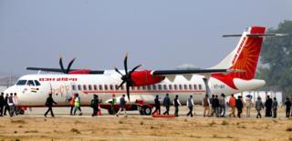 The inaugural Air India flight at Bathinda Civilian Airport in Punjab, December 2018