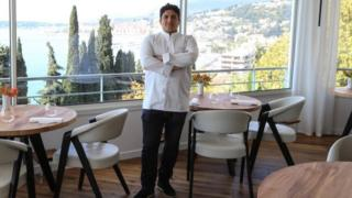 Mirazur's chef Mauro Colagreco poses in his restaurant in southern France. Photo: April 2019