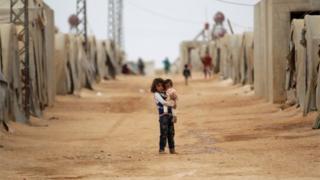 Syrian children at a refugee camp