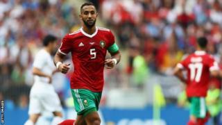 Le défenseur central marocain Medhi Benatia en trqin de jouer