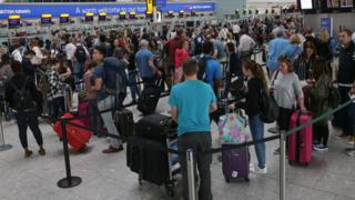 Queues at airport following BA's IT failure