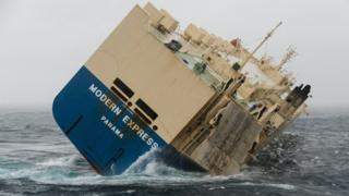 The stricken Modern Express ship listing in the Bay of Biscay