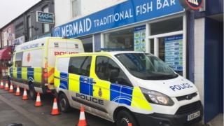 Police vans in Chesterfield