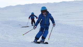 Young skiers at CairnGorm Mountain