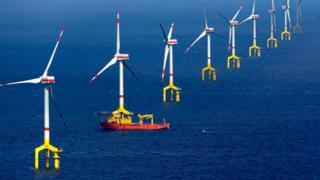 Almanya'da Kuzey Denizi'ndeki rüzgar türbinleri