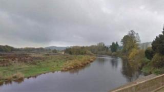 River Wye near Outfall Works Road in Rotherwas in Hereford