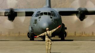 US transport plane at Kandahar air base