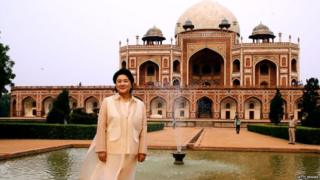 South Korean First Lady Kim Jung-sook with Humayun's tomb in the background