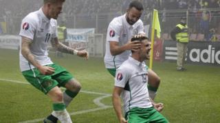 Marc Wilson (centre with beard) celebrates with Robbie Brady (front) and James McClean during the Republic of Ireland's Euro 2016 qualifier play-off first leg game against Bosnia and Herzegovina