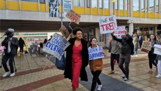 Protestors at University of Essex