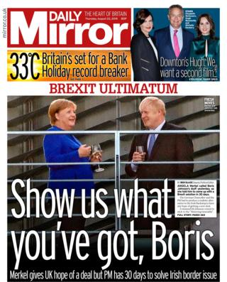 Daily Mirror front page 22/08/19