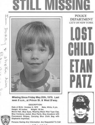 A missing poster of Etan Patz