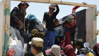 Civilians flee Fallujuah, held by Islamic State