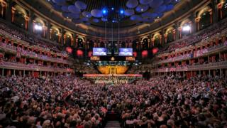 The inside of the Royal Albert Hall on the Last Night of the Proms
