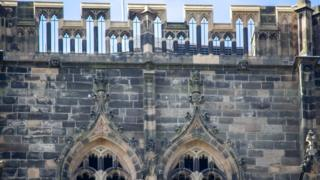 Central tower stonework