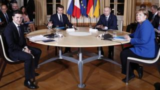 (L-R) Ukrainian President Volodymyr Zelensky, French President Emmanuel Macron, Russian President Vladimir Putin and German Chancellor Angela Merkel, during a summit on Ukraine at the Élysée Palace in Paris, France, 9 December 2019