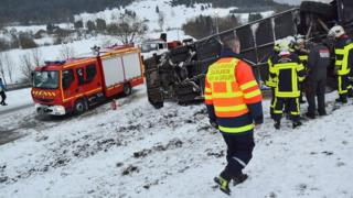 The school bus overturned in wintry conditions near Pontarlier in the Doubs area of eastern France (10 Feb)