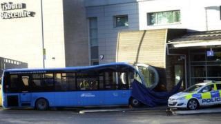 The scene of the crash at Lisburn bus centre